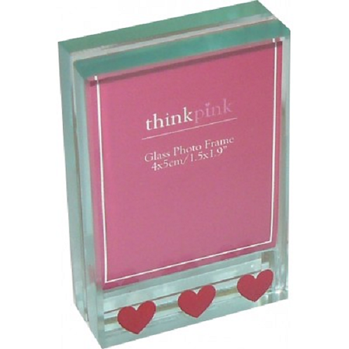 Decorative glass photo frame. Hearts design. The size makes it suitable for home, office or work place