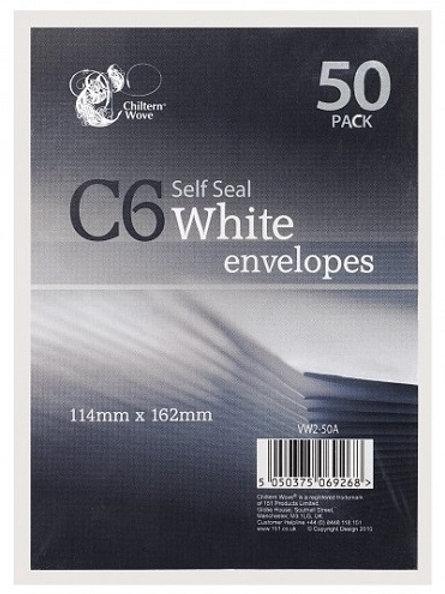 C6 Self Seal Envelopes  50 Pack, envelope size: 114mm x 162mm