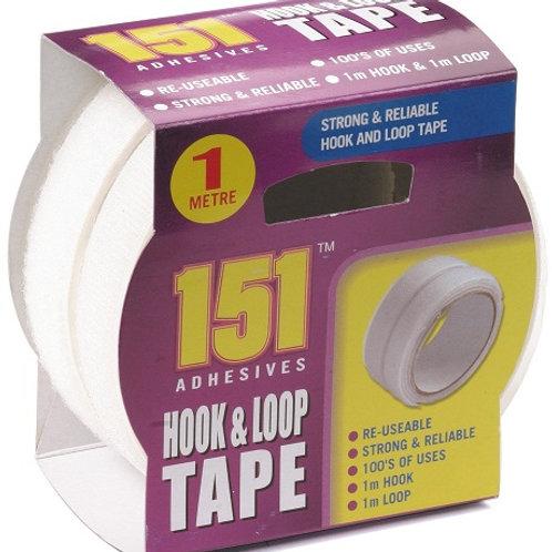 Adhesive Hook and Loop Tape with 1 metre of hook tape and 1 metre of loop tape
