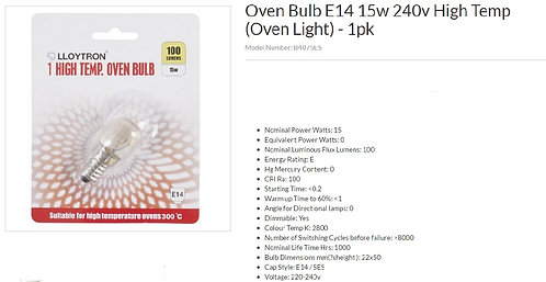 High Temperature Oven Bulb
