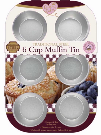 6 Cup Muffin Cake Tin, perfect for baking your favourite muffins and cakes
