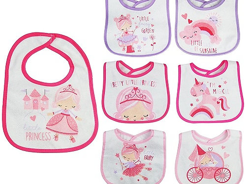 7 Baby Feeding Bibs - Princess Design with practical velcro fastening at the back