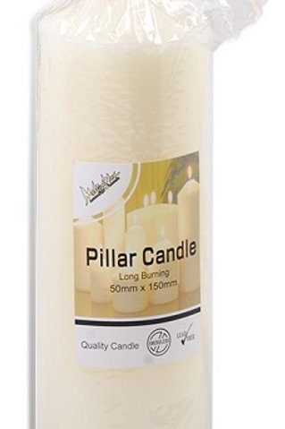 Ivory Coloured Pillar Candle 50mmx 100mm  Ideal when creating a beautiful candlelight arrangement for the home