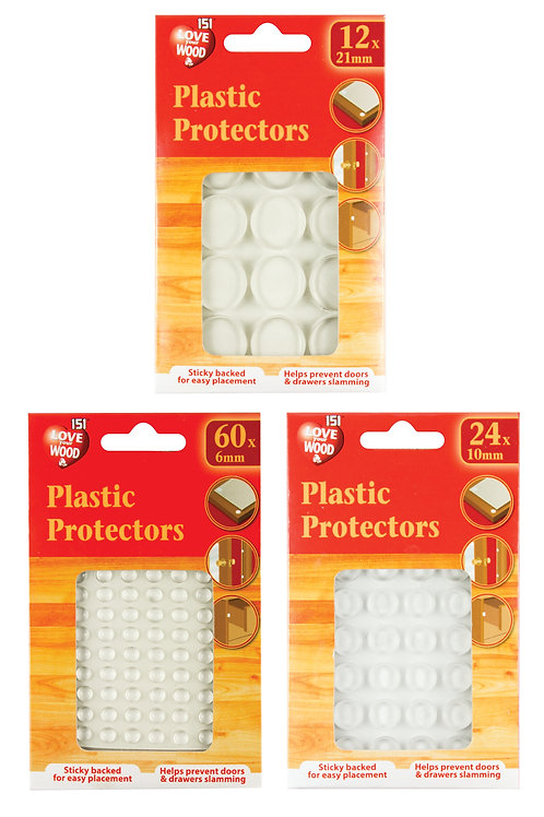 Sticky backed plastic protectors for easy placement help prevent doors anddrawers from slamming