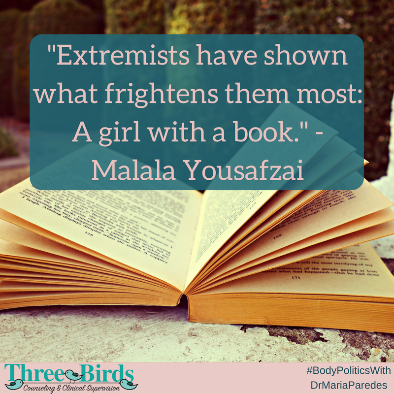 "Photo of open book with Malala quote that says ""Extremists have shown what frightens them most: A girl with a book."