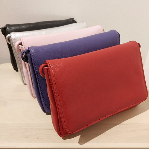Leather Foldover Clutch / Crossbody Bag with RFID