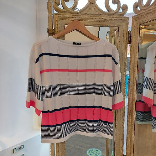 Marble -Fine Knit Stripe Pure Cotton Top