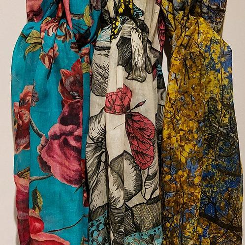Luxury Fringed Printed Modal / Silk Scarves