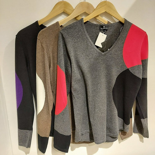 Marble - Shaped Circle Design Cotton Sweater
