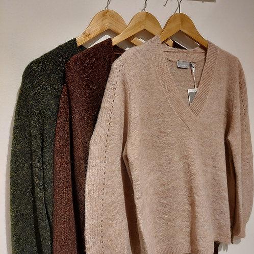Fransa - Fluffy V Neck Sweater