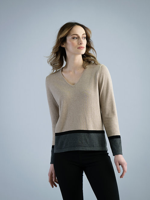 Marble - Cotton V-neck Sweater