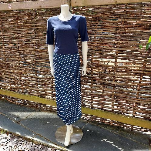 Robell Lydia Navy & White Spot Skirt