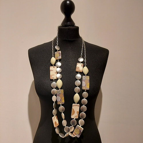 Long Resin and Metal Statement Necklace