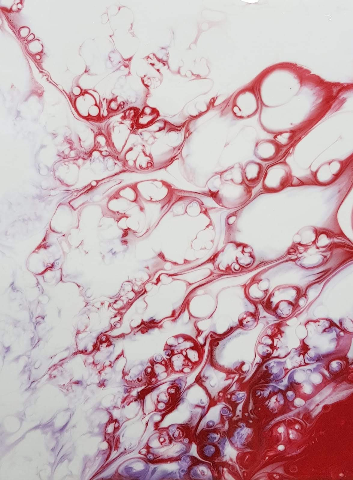 'Red on White' resin art