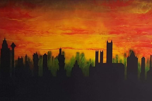 Elysian Designs skyline at sunset epoxy resin art