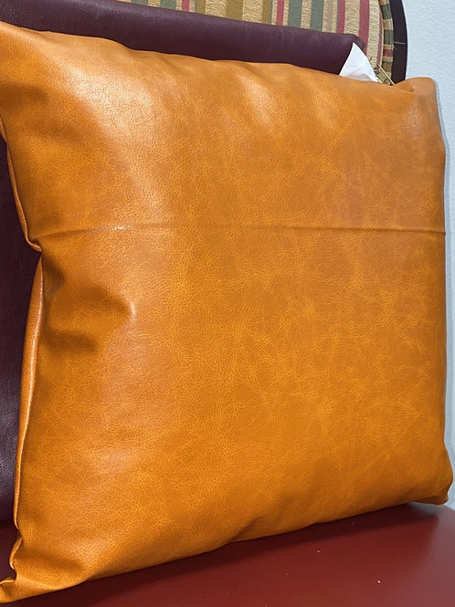 Copper Leather Square Pillow