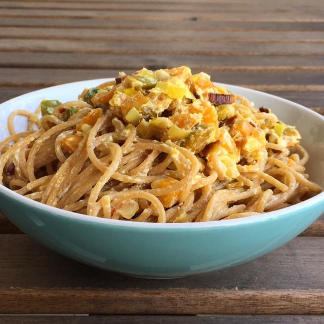 Spaghetti integrali con porri, zucca e ricotta