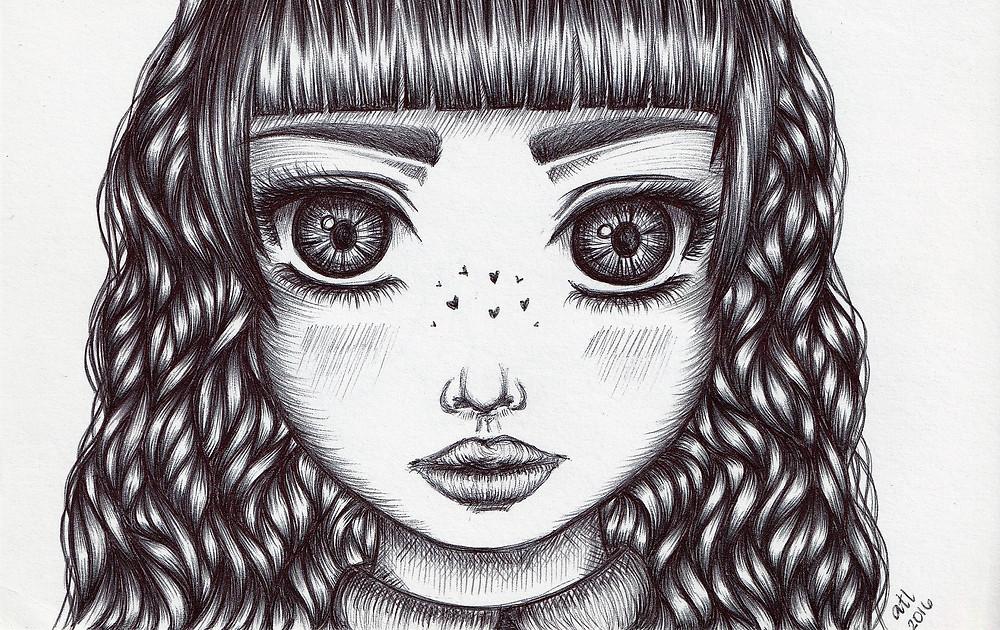 Biro, Ballpen, Pen art of female anime. Black and white original drawing by Anna Legaspi Art