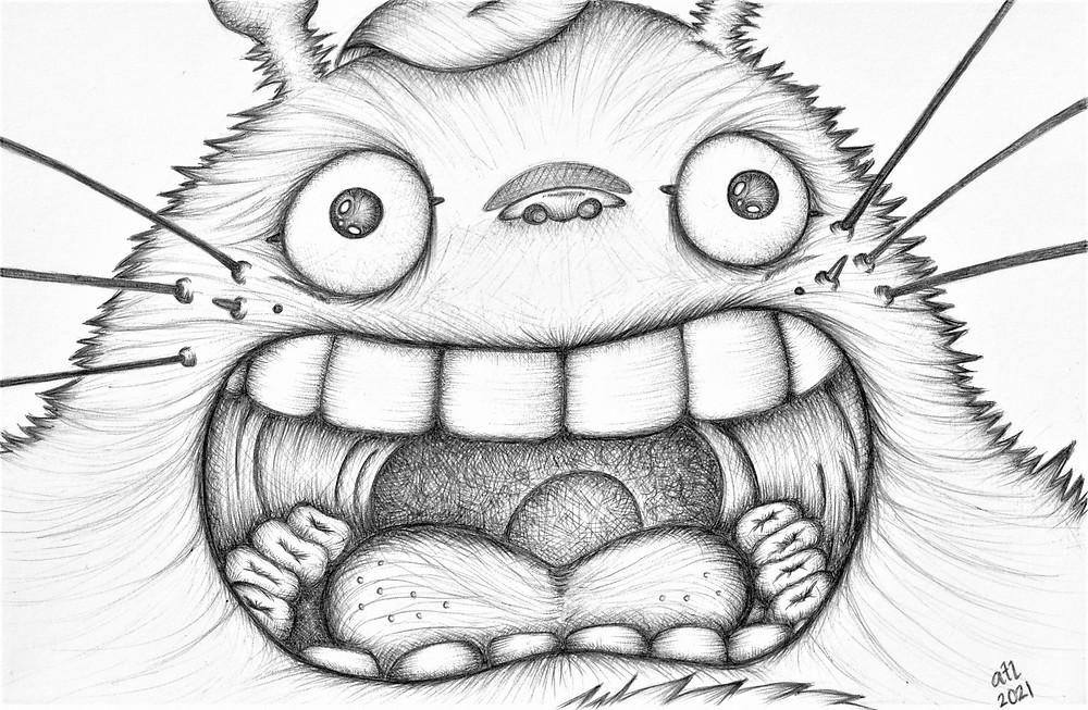 Biro, Ballpen, Pen art of Totoro from Studio Ghibli's My Neighbour Totoro. Black and white anime drawing by Anna Legaspi Art