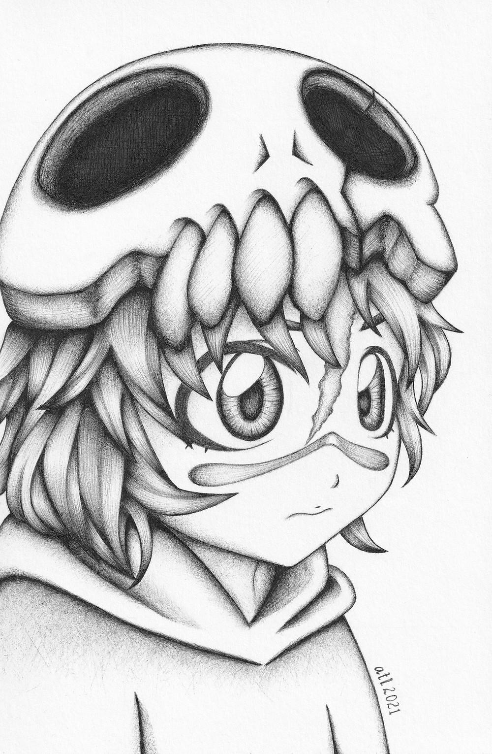 Biro, Ballpen, Pen art of Nel from anime Bleach. Black and white anime drawing by Anna Legaspi Art