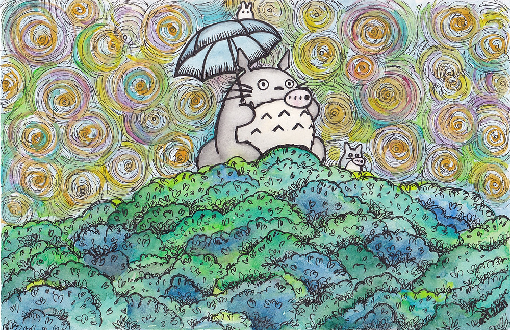 Watercolour and pen art of Totoro and friends on a tree playing the ocarina. From Studio Ghibli's anime film My Neighbour Totoro.Original art by Anna Legaspi Art