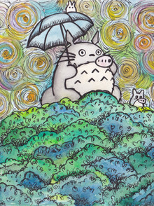 Ink work - Ink pen and Watercolour - Totoro and friends from My Neighbour Totoro