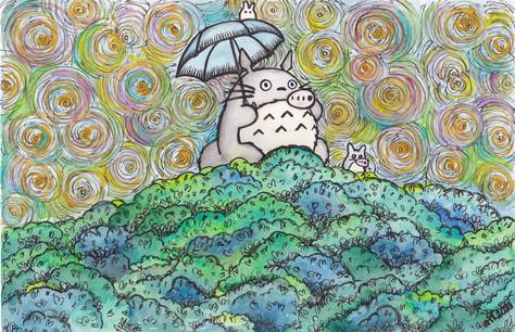 annalegaspiart, annalegaspi, watercolour and pen art, anime, totoro and friends, my neighbour totoro, studio ghibli art