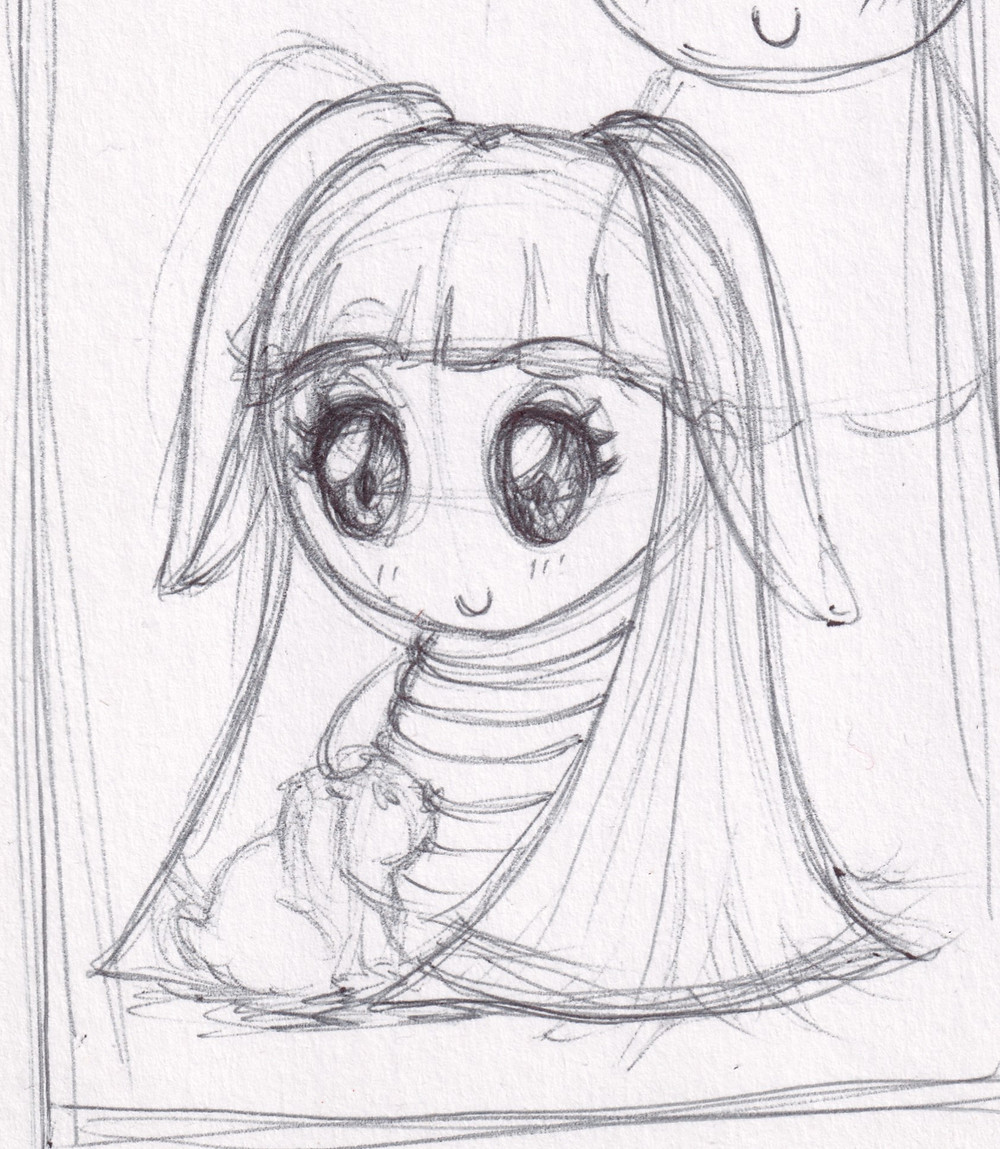 Bunnybow pen sketch by Anna Legaspi art. Bunnybow is a cute, kawaii bunny rabbit.