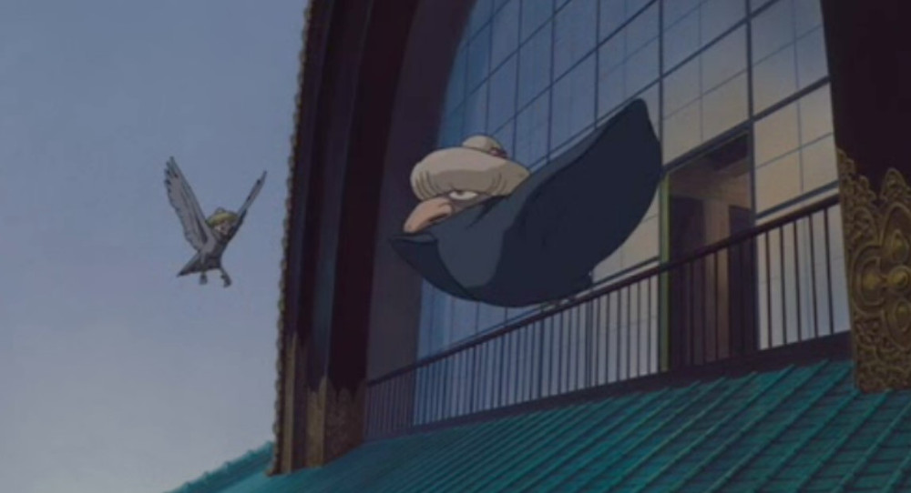 Yubaba perched like a bird from anime movie Spirited away.