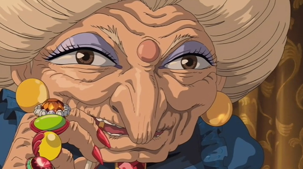 Yubaba Close up with rings and cigarette from anime movie Spirited away.