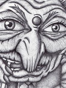 Ink work - Biro pen - Yubaba from Spirited Away