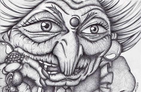 annalegaspiart, annalegaspi, biro art, ballpen art, black and white, ghibli, anime, spirited away, yubaba,