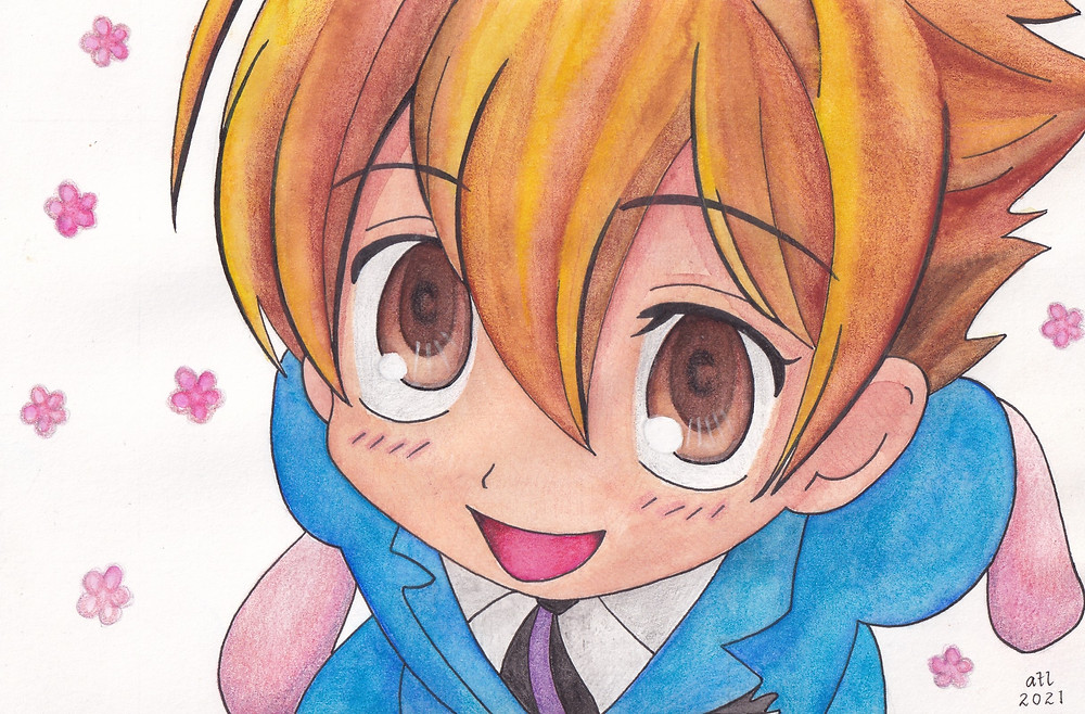 Watercolour, coloured pencils and pen art of Honey from the anime Ouran High School Host Club. by Anna Legaspi Art