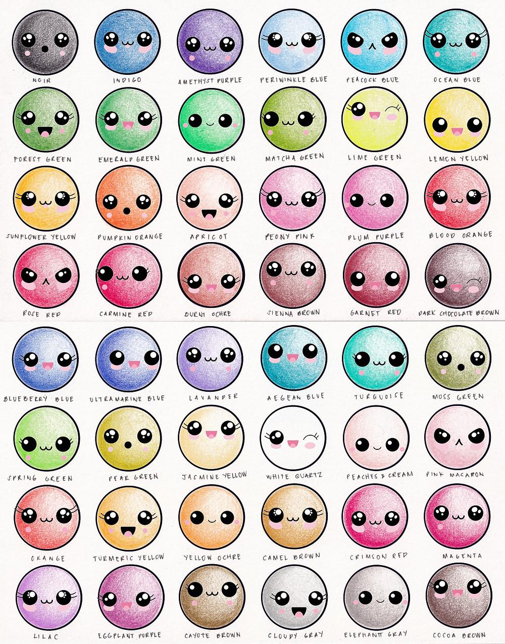 Arteza 48 Professional coloured pencils swatch test kawaii cute face