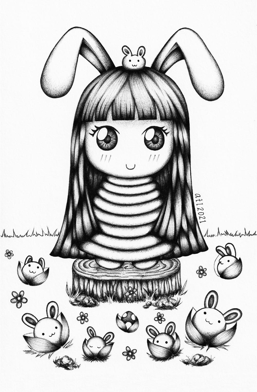 Kawaii and cute art drawn using Biro, Ballpen, Pen art of Bunnybow. Black and white original drawing by Anna Legaspi Art