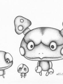 Ink work - Biro art - Napcap, Duncecap, Madcap from Ni no Kuni, Wrath of the White Witch (game)