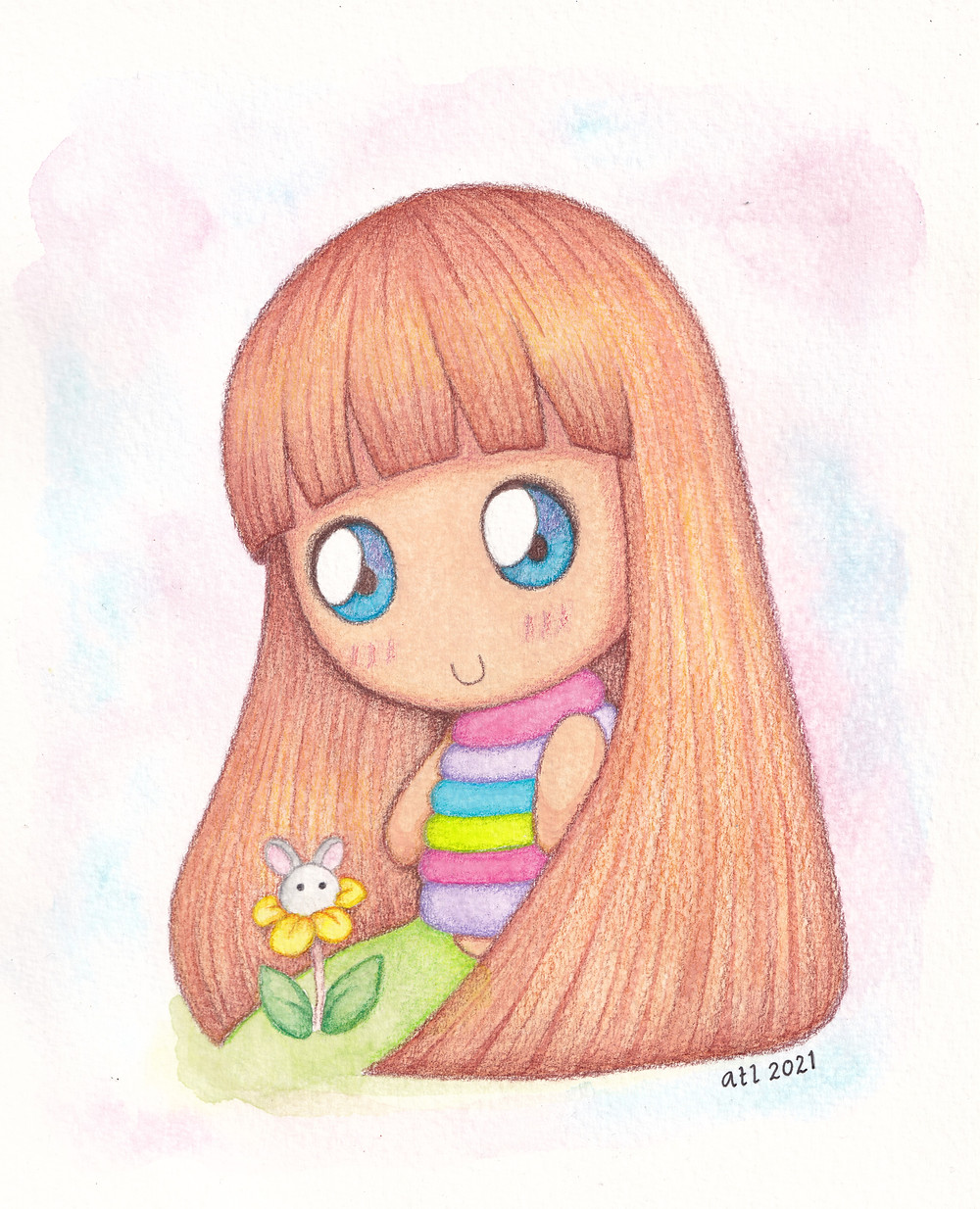 Bunnybow watercolour and pencil sketch by Anna Legaspi art. Bunnybow is a cute, kawaii bunny rabbit looking at a rabbit flower.