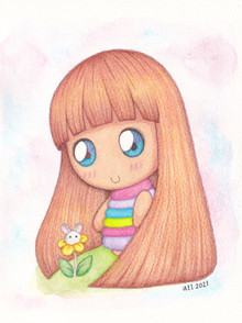 Mixed media - Watercolour and Coloured pencils - Bunnybow