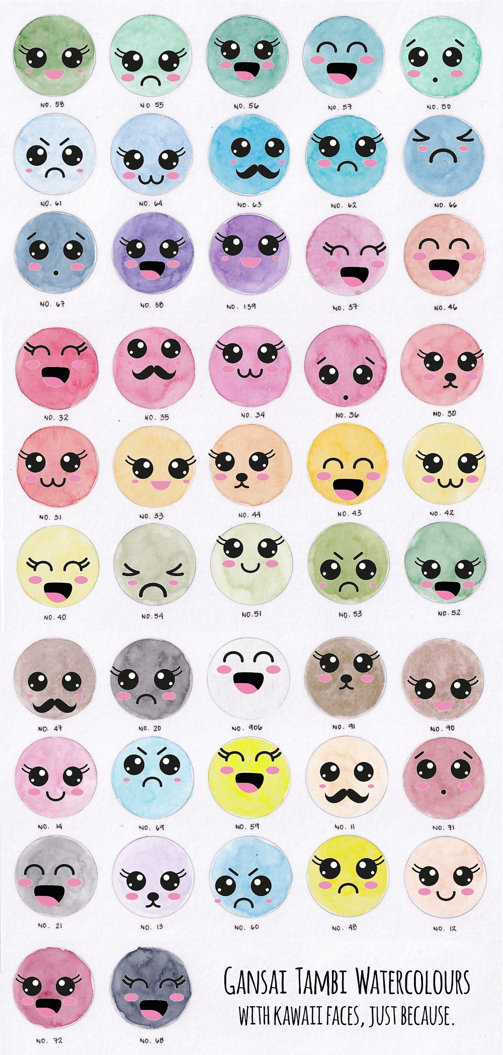 48 Set Gansai Tambi Watercolours Light wash swatch kawaii cute faces