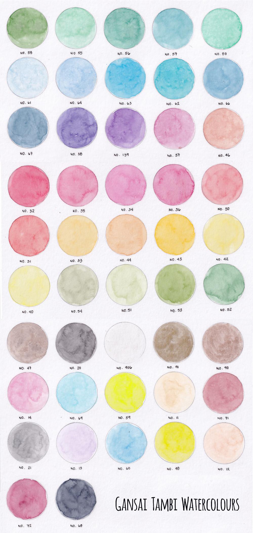 48 Set Gansai Tambi Watercolours swatch light wash