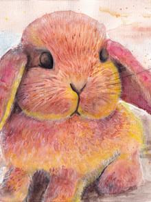 Watercolour - Cute baby rabbit