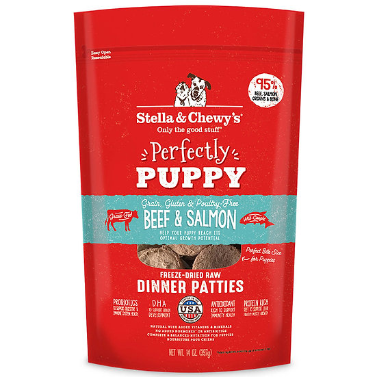 Stella & Chewy's Perfectly Puppy Beef & Salmon Dinner Patties Freeze-Dried Raw