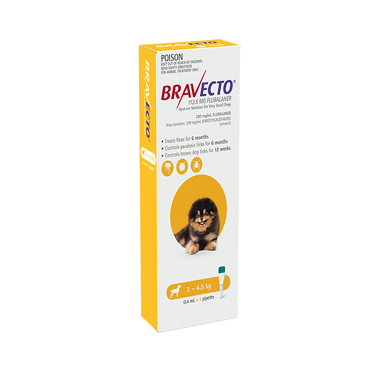 Bravecto Spot On For Dogs Yellow