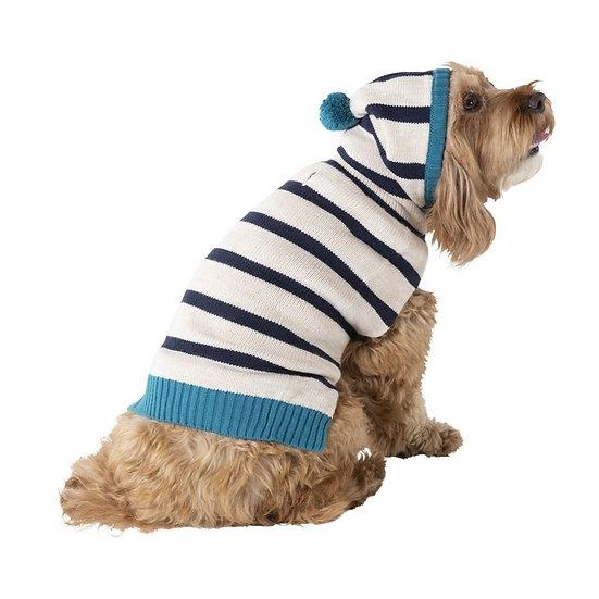 Bond & Co Striped Pom Hoodie Dog Sweater
