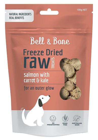 Freeze Dried Raw Dog Treats: Salmon with Carrot and Kale