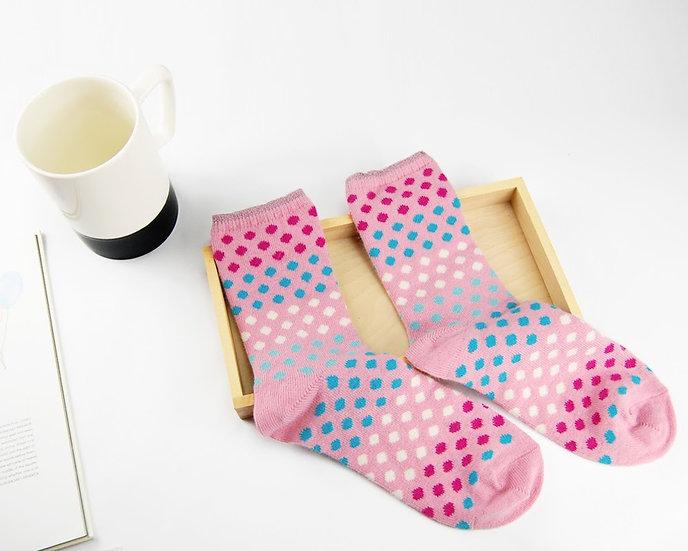 ถุงเท้า Wool Pink x  Mini Poka Dot