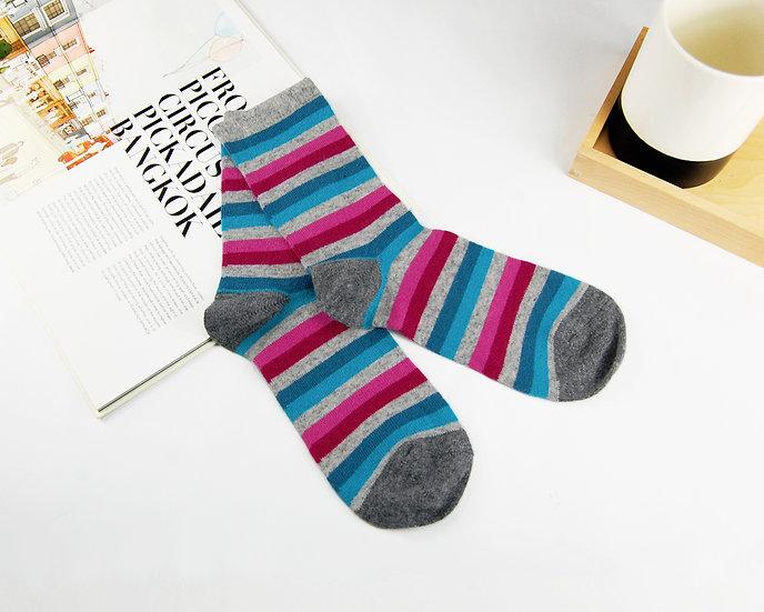 ถุงเท้า Wool  Grey x Block color stripe
