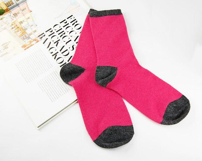 ถุงเท้า Wool สีชมพู ส้นเทา