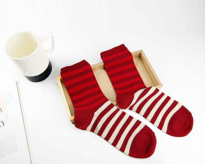 ถุงเท้า Wool Red x  Block Color Stripe