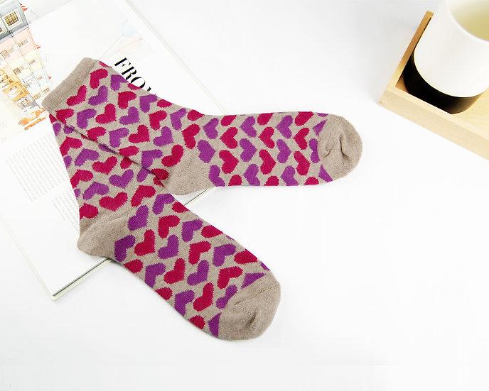 ถุงเท้า Wool ลาย Heart Print